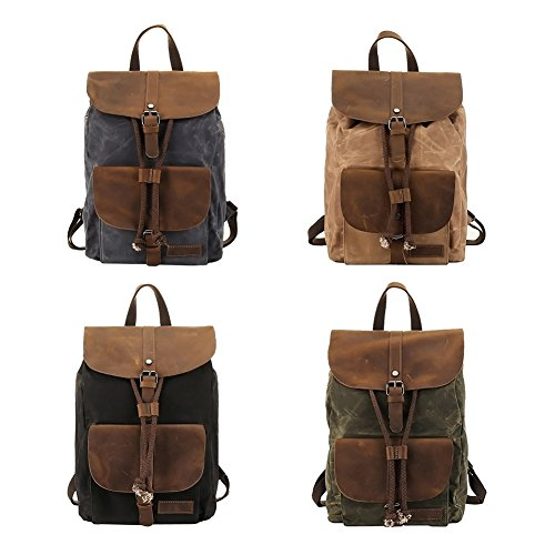 VRIKOO Waterproof Canvas Leather Laptop Backpacks Casual Hiking Daypacks Travel Shoulder Bag Knapsack Dunkelgrau