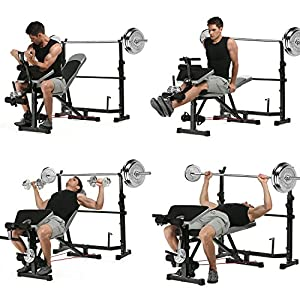 Olympic Weight Bench Mid Width Bench Arms Height Adjustable Proffesional Fitness(US Stock)