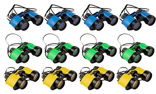 Kids Binoculars with Neck Strings - 12-Pack Children Outdoor Toy Binoculars for Exploring Nature, Bird-Watching, Sightseeing, Wildlife Scenery, Yellow, Green, Blue, 4.7 x 1.5 x 3.7 Inches