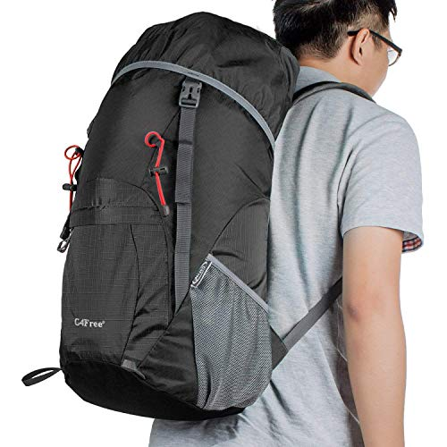 5b24dda456 G4Free Large 40L Lightweight Water Resistant Travel Backpack Foldable    Packable Hiking Daypack(Black