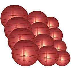 "Quasimoon PaperLanternStore.com Round Paper Lanterns 12pcs Assorted Combo Party Pack - (12/10/8"") Crisscross Ribbing, Marsala/Burgundy Wine -"