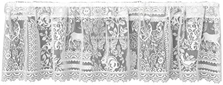 Heritage Lace Woodland Patch Valance, 60 by 15-Inch, White
