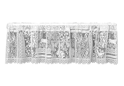 Heritage Lace Woodland Patch Valance, 60 by 15-Inch, White (Curtain Woodland Lace)