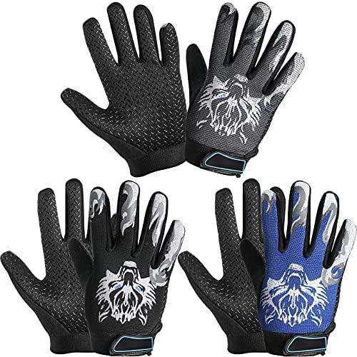 3 Pairs Kids Cycling Gloves Kids Full Finger...