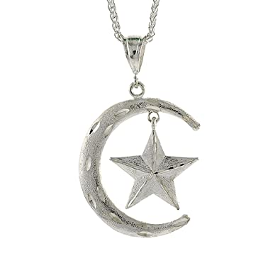 Amazon sterling silver crescent moon and star pendant 2 316 sterling silver crescent moon and star pendant 2 316 inch tall aloadofball Choice Image