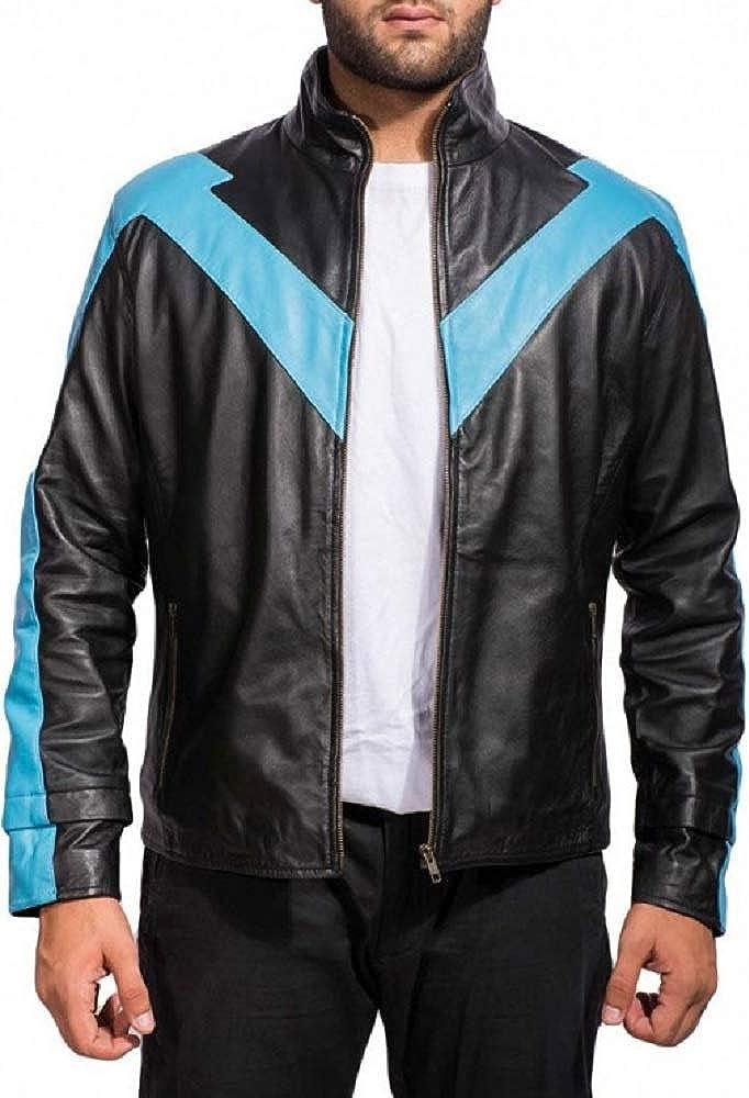 Parevaas Mens Nightwing Dick Grayson Black Genuine Leather Jacket