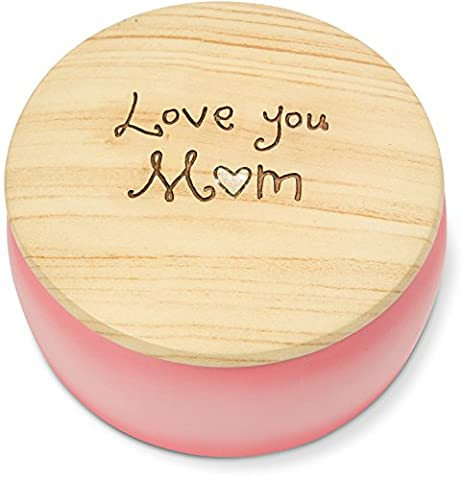 Pavilion Gift Company Heavenly Woods - Love You Mom Round Pink Butterfly Keepsake Jewelry Box (Butterfly Jewelry Dish)