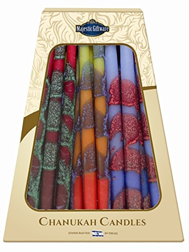 Majestic Giftware SC-CP20 Safed Handcrafted Hanukkah Candles, 6-Inch, Blue/Yellow/Red, (Hanukkah Candles Menorah)