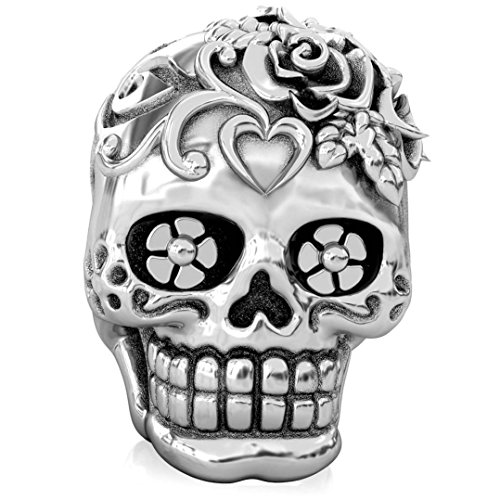 (Authentic BELLA FASCINI Loving Heart Skull Bead Charm - Dia de los Muertos - 925 Silver - Fits)