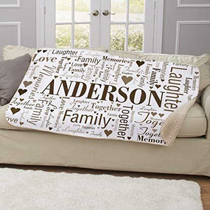 amazon com personalized family word art sherpa blanket home kitchen