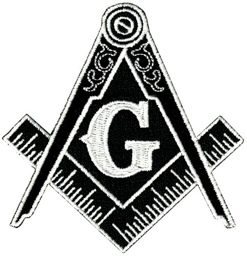 Masonic Logo Patch Black Iron On Embroidered Freemason Mason G Square Compass