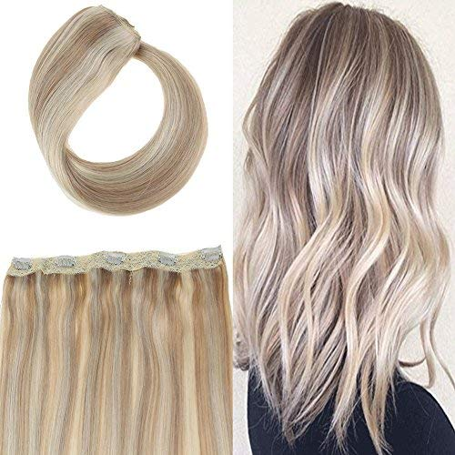 Youngsee 20 inch One Piece Remy Clip in Extensions Human Hair 70G Ash Brown Highlight with Blonde 100% Real Hair Extensions with 5 Clips