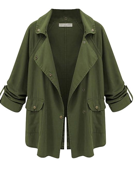 4e9d8ecef8233 Mujer Abrigo Trench De Casual Chaqueta Larga De Manga Larga Militar Coat  Botón Elegante Ejército Verde
