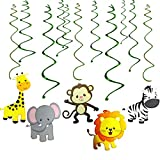 GuassLee Jungle Animals Party Swirl Decorations - 30 Pack Hanging Swirl Animals Party Supplies animal theme birthday party decorations, Multicolor