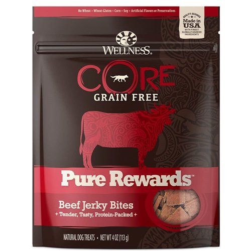 Wellness Pure Rewards Natural Grain Free Dog Treats, Beef Jerky, 6-Ounce Bag