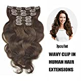 """SHOWJARLLY Wavy Clip in Hair Extensions Human Hair 7Pcs/70g 14"""" Thick Full Head Body Wave Clip in Hair Extensions #2 Dark Brown Remy Clip in Human Hair Extensions"""