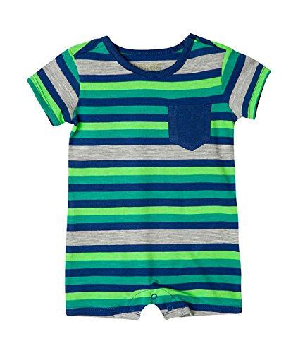 OFFCORSS Newborn Baby Boy Cotton Romper Organic Stripes Summer Clothing Colorful Outfit Pajamas 1 Year Ropa de Vestir Bebe Nio Varon Blue 6/9 M