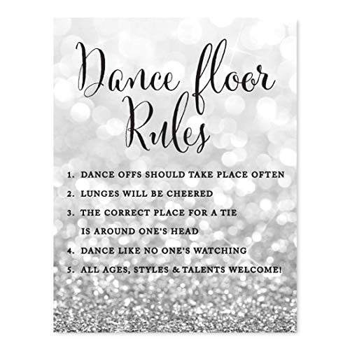 Andaz Press Wedding Party Signs, Glitzy Silver Glitter, 8.5x11-inch, Dance Floor Rules, 1-Pack