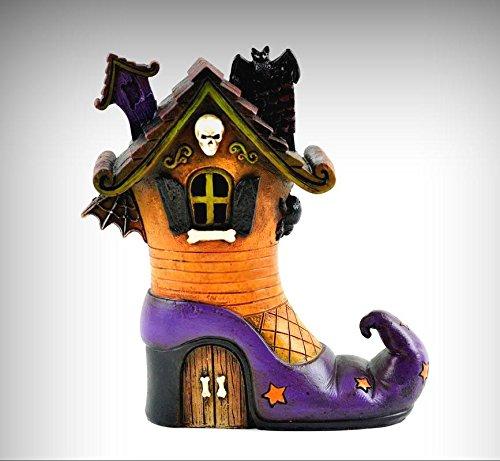 (Miniature Dollhouse Fairy Garden Halloween LED LIGHTED Witch Shoe House MW0034 - My Mini Fairy Garden Dollhouse Accessories for Outdoor or House Decor)