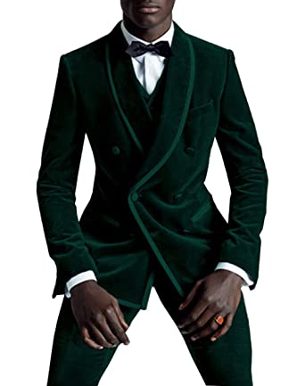 9040e363ee4 Fitty Lell Men's 2-Piece Suit Velvet Tuxedo Double Breasted Slim Fit Dinner  Jacket & Pants at Amazon Men's Clothing store: