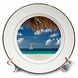 3dRose Danita Delimont - Oceans - Sailboat off Eagle Beach, Aruba, West Indies - 8 inch Porcelain Plate (cp_257401_1)