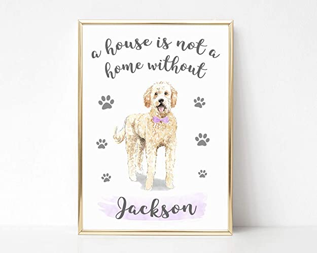 Personalised Dog Owner Gifts, Goldendoodle Picture, Personalised Pet Pictures and Prints, UNFRAMED