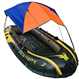 Mexidi Inflatable Kayak Awning Canopy, 2/3/4 Person Foldable Boat Tent Sailboat Awning Top Cover Fishing Tent Camping Sun Shade Shelter Rain Cover Kit No Boat Included (2 Person)
