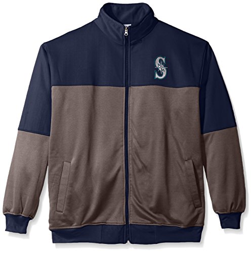 Profile Big & Tall MLB Seattle Mariners Men's Poly Fleece Yoked Track Jacket with Wordmark Logo, 3X, Navy/Gray