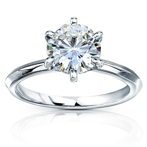 Classic Solitaire Round Brilliant Moissanite Engagement Ring 2 Carats 14k White Gold, 4 from Kobelli
