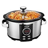7quart slow cooker - Aicok Slow Cooker, Programmatic Slow Cooker, 7-Quart Oval Cooker with Digital Timer, Removable Ceramic Cooking Pot, Stainless Steel