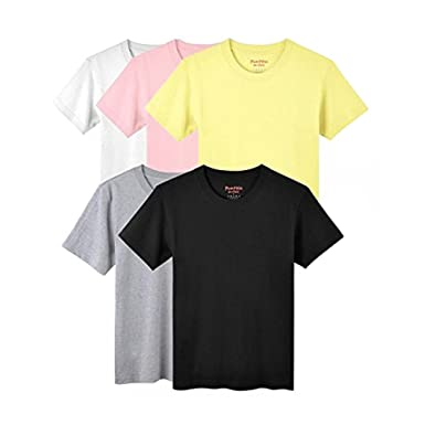 4b33107788b Mens Plain Shirts Short Sleeve Cotton T-Shirt Crewneck Shirts for Men  Assorted Color Shirts