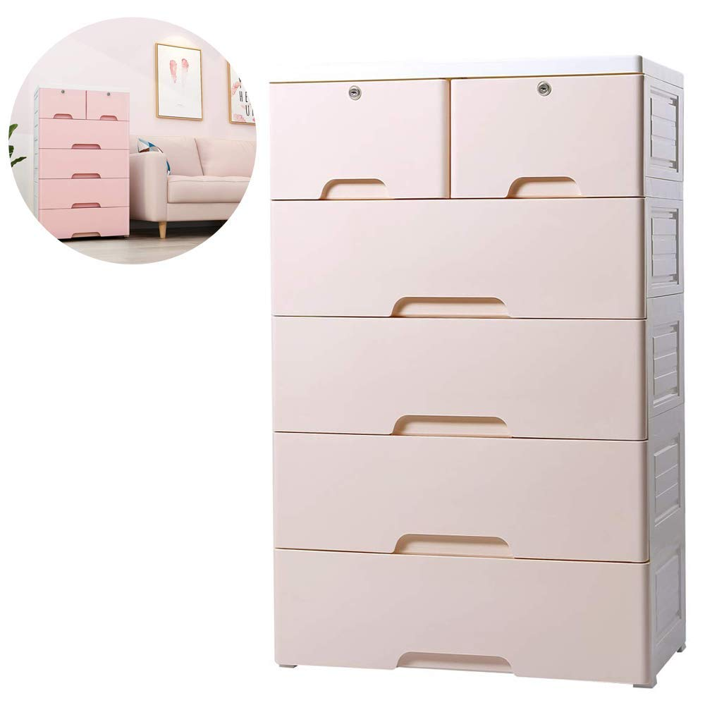 Nafenai 4-Drawer with 2 Cabinet Plastic Storage Bin Baby Closet Toy Box Clothes Storage Cabinet (1)