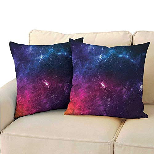 (RuppertTextile Outer Space Breathable Pillowcase Planetary Galaxy Theme Cushion W14 x L14)
