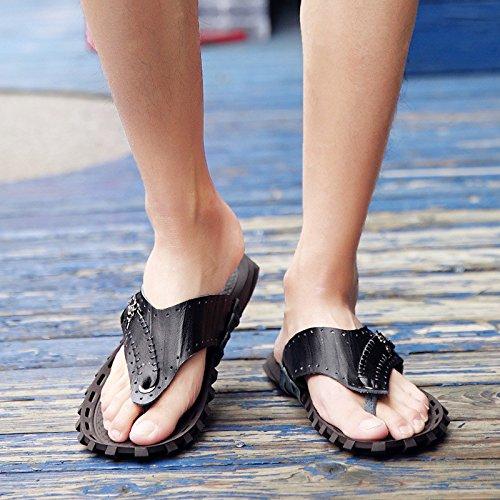 infradito Uomini personalità Spiaggia scarpa sandali estate Antiscivolo sandali Uomini vera pelle sandali .nero.US=8.5,UK=8,EU=42,CN=43