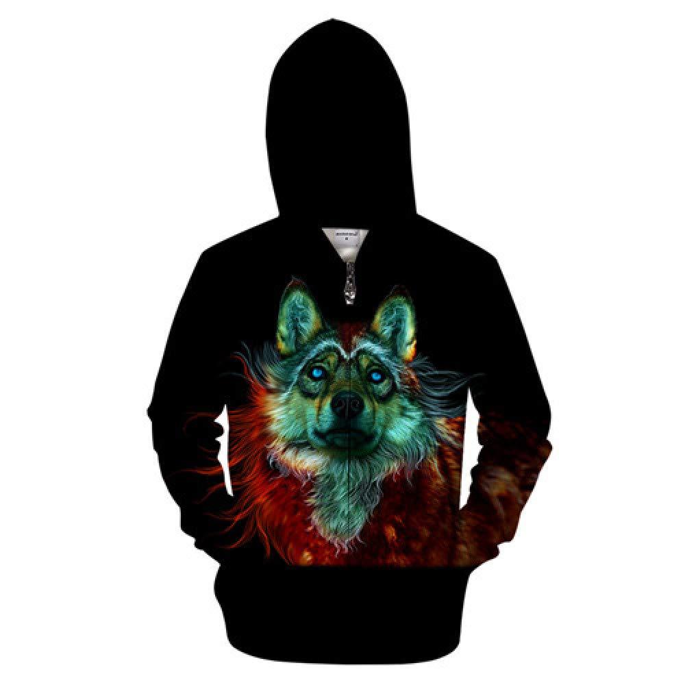 ZIP608 4XL WDDGPZWY Hoodie Kapuzenpul r Sweatshirt Tier Zip Hoodies Wolf Sweatshirts Männer Lustige Hoody 3D Zipper Trainingsanzug Streetwear Mantel 6XL Mit Kapuze