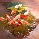Perfect effect Canvas ,the Cheap but High quality Art Decorative Art Decorative Canvas Prints of oil painting 'Carps in the Pond', 8x8 inch / 20x20 cm is best for Home Office gallery art and Home decor and Gifts