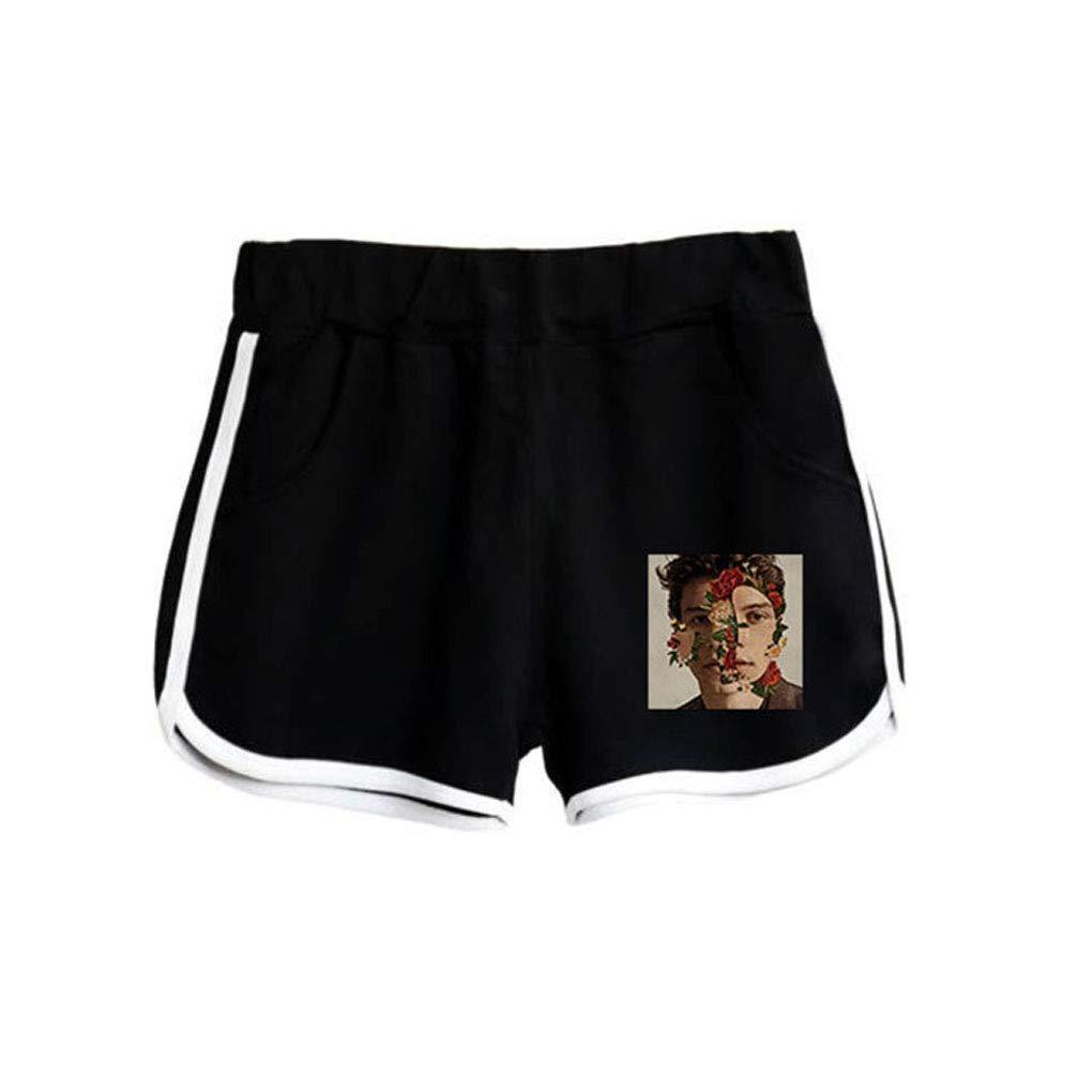 Memoryee Cantante Shawn Mendes Stampato Crop Top Maglietta e Shorts Abbigliamento Set 2 Pezzi Tute Outfit per Ragazze e Donne Sportswear