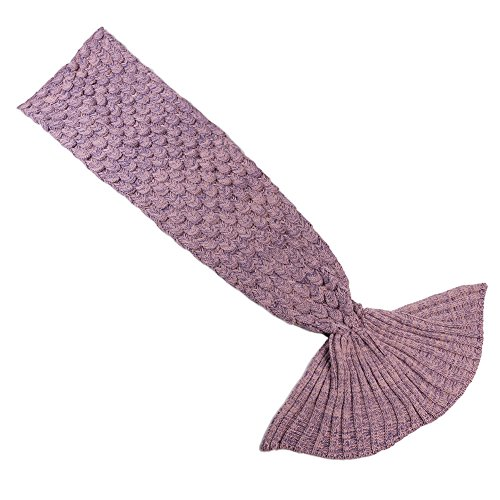 Yowao Mermaid Tail Blanket Adult Handmade Knitted Fish Scales Pattern and All Seasons Warm Your Feet Sleeping Bag 74.86 x 35.46 inch (190x90cm) (Dark Pink)