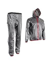 Baoblaze Mens Motorcycle Cycling Full Rain Suit Waterproof Hooded Top Rain Coat Pant