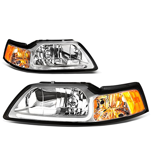Pair Chrome Housing Clear Lens Amber Corner LED DRL Headlight For Ford Mustang