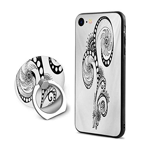 Henna iPhone 7/iPhone 8 Cases,Mehndi Body Art Doodle in Black and White Abstract Floral Arrangement Illustration Black White,Mobile Phone Shell Ring Bracket