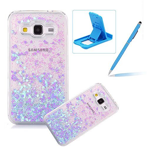 Liquid Case for Galaxy Grand Prime,Herzzer Luxury Back Cover for Galaxy Grand Prime,Creative Dynamic [Blue Love Heart] Glitter Quicksand Sparkle Flowing Liquid Bling Shiny Transparent Hard Case