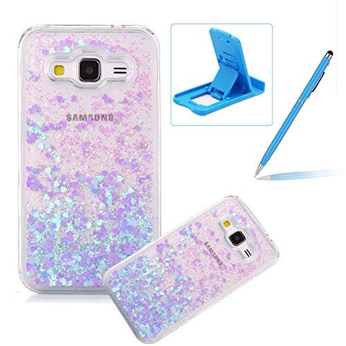 Liquid Case for Galaxy Grand Prime,Herzzer Luxury Back Cover for Galaxy Grand Prime,Creative Dynamic [Blue Love Heart] Glitter Quicksand Sparkle Flowing Liquid Bling Shiny Transparent Hard Case