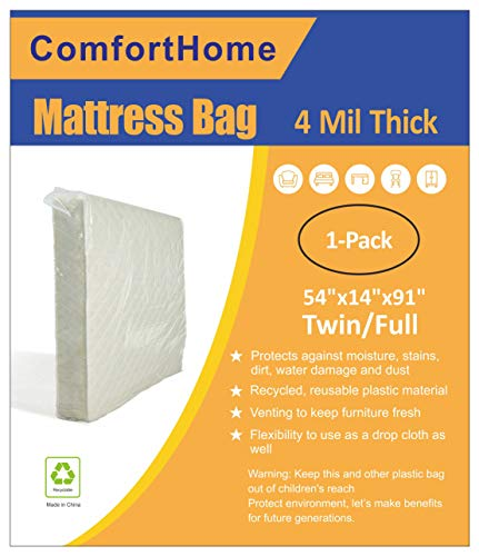 ComfortHome 4 Mil Extra Thick Mattress Bags for Moving and Storage, Twin/Full Size, 1-Pack