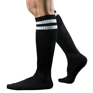 Longra Los hombres del deporte del fútbol del balompié calcetines largos, calcetines altos de béisbol rayadas (Negro): Amazon.es: Deportes y aire libre