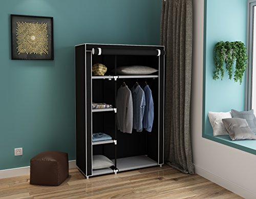 "Homebi Clothes Closet Portable Wardrobe Durable Clothes Storage Non-woven Fabric Wardrobe Storage Organizer with Hanging Rod and 6 Shelves,41.14""W x 18.0"" D x 62.2""H (Black)"