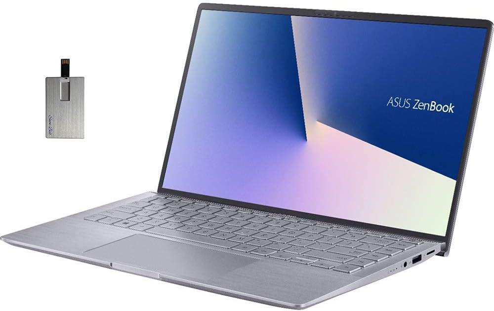"2020 ASUS Zenbook 14"" FHD Ultra-Light&Thin Laptop Computer, AMD 4th Gen Ryzen 5-4500U, 8GB RAM, 256GB PCIe SSD, Backlit Keyboard, NVIDIA GeForce MX350, HD Webcam, Win 10, Gray, 32GB Snow Bell USB Card"