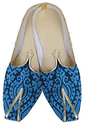INMONARCH Mens Royal Blue Wedding Shoes MJ0082 QGz75