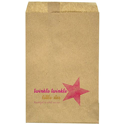 """Birthday - Baby Shower - Mile Stone - Small Favor Bag - Goody Bag - Pink/Gold - Twinkle Twinkle Little Star Theme - Sky Theme - Candy Bar – Treat Table – 9.25"""" x 6.25"""" Brown Kraft Bags – (20 Pack) -"""
