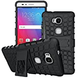 Image of Sophmy Honor 5X Case, Sophmy Hybrid Dual Layer Armor Protective Case Cover with kickstand for Huawei Honor 5X [Shockproof Case] - Black